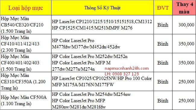 Giá thay mực máy in màu
